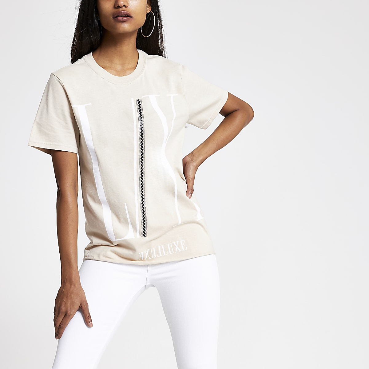 Petite beige embellished printed T-shirt