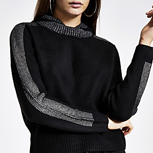 Zwarte gebreide hoodie met rand van siersteentjes