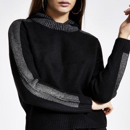 Black diamante trim knitted hoodie