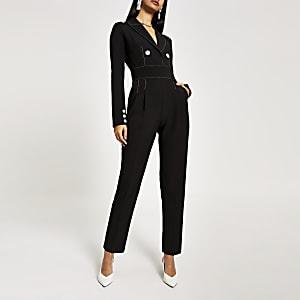 Zwarte jumpsuit met contrasterend stiksel en hoge taille