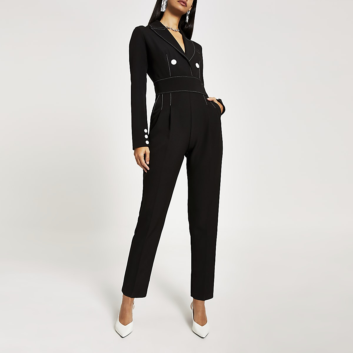 Black contrast stitch high waist jumpsuit
