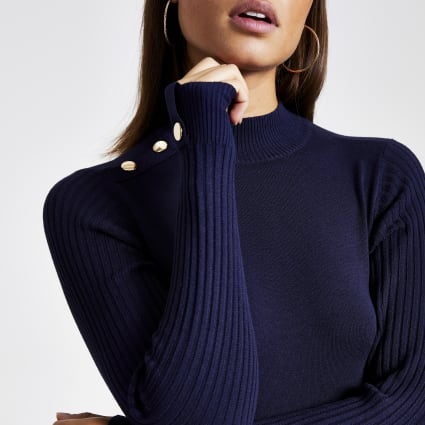 Navy fitted high neck knitted top
