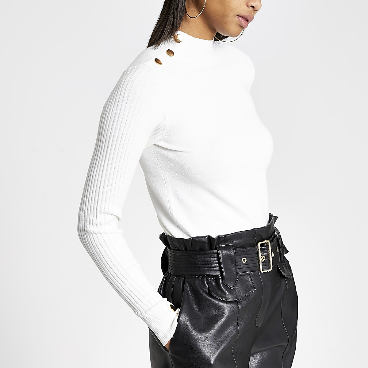 Cream fitted high neck knitted top