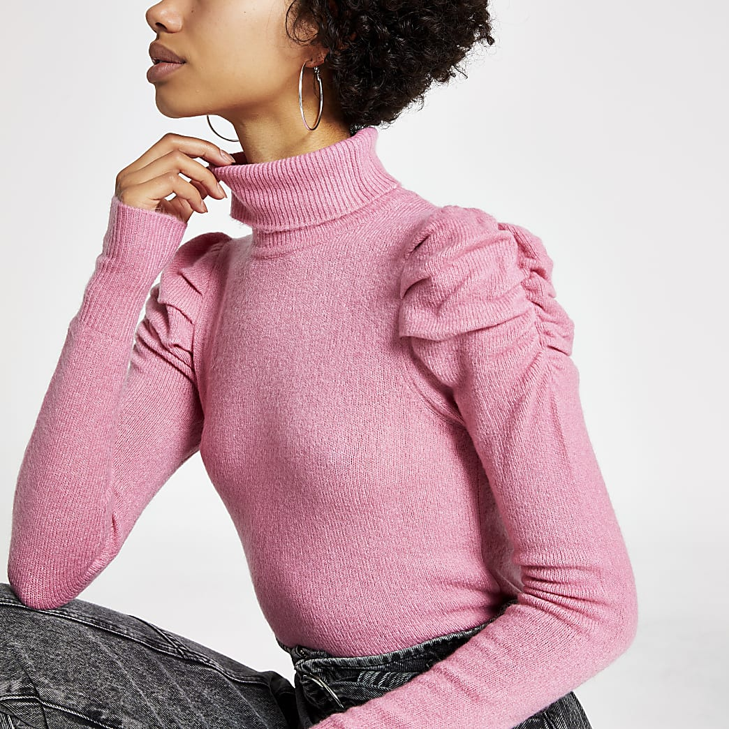 Pink puff sleeve roll neck jumper