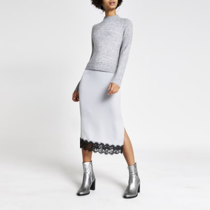 Grey midi satin lace trim jumper dress