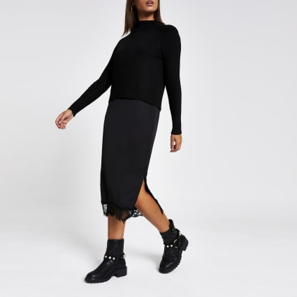 Black midi satin lace trim jumper dress