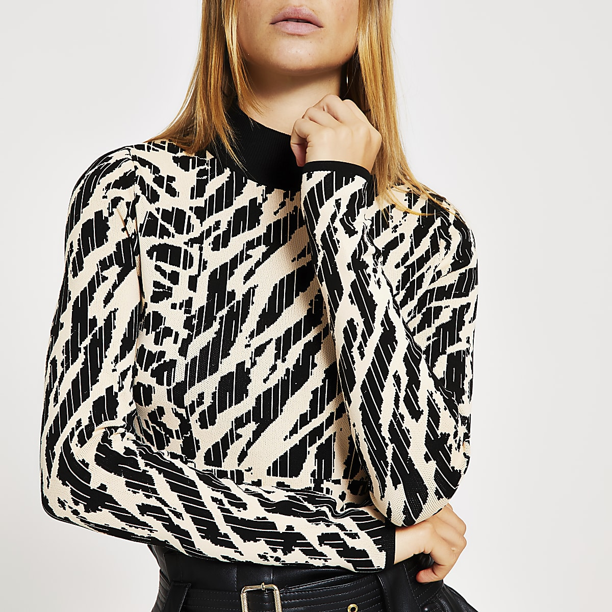 Black animal print high neck long sleeve top