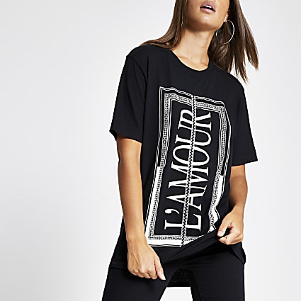 Black 'L'amour' diamante trim T-shirt