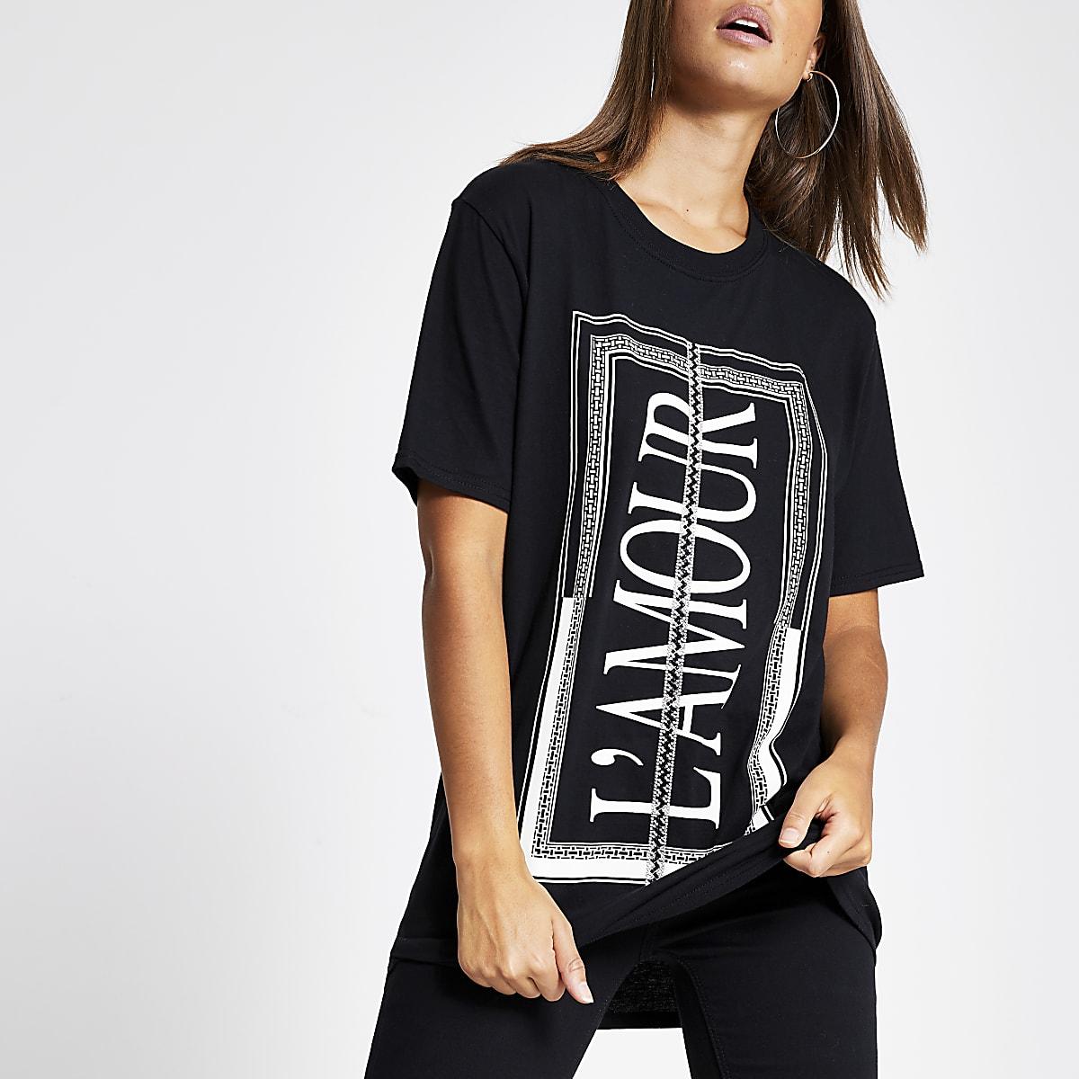 Black 'L'amour' diamante trim T-shirt