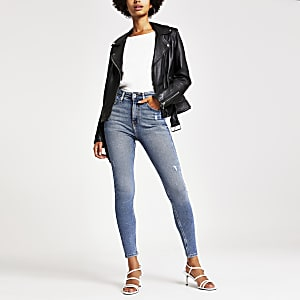 Hailey – Mittelblaue High-Rise-Jeanis