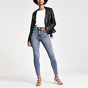 Hailey - Jean taille haute authentique bleu moyen