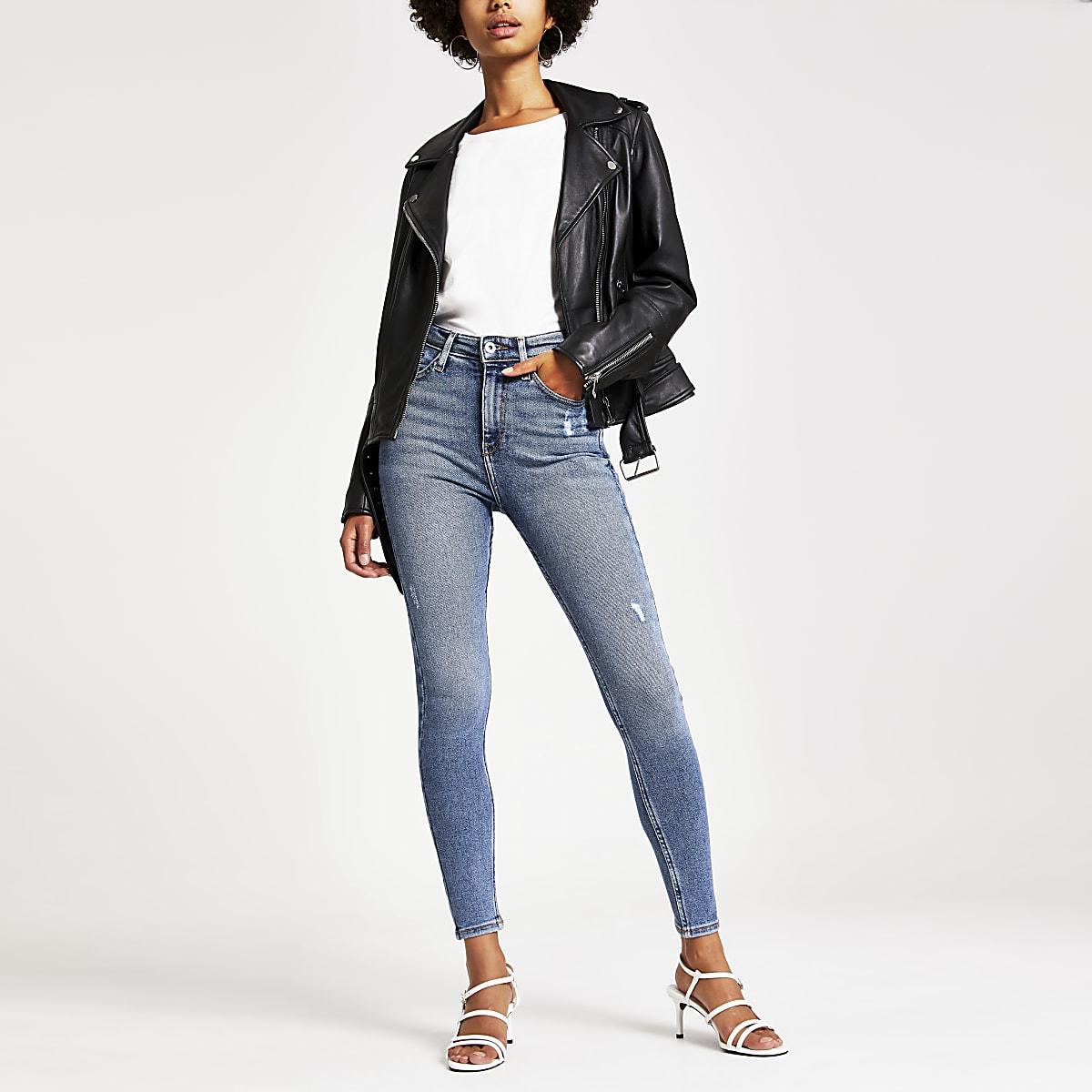 Hailey - Middenblauwe authentieke jeans met hoge taille