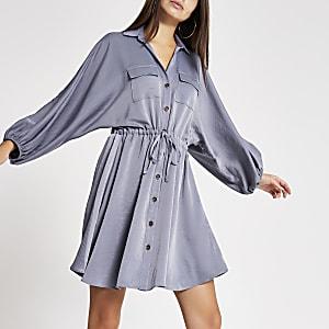 Graues, langärmeliges Mini-Blusenkleid mit Taillenschnürung