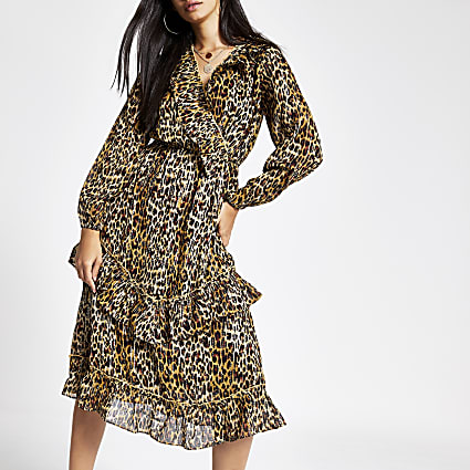 Brown leopard print frill hem midi dress