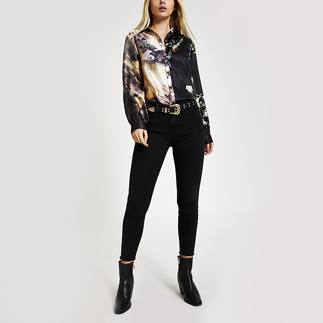Black print long sleeve satin shirt