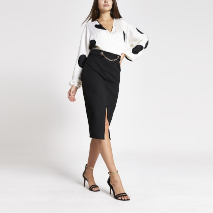 Black polka dot long sleeve chain midi dress