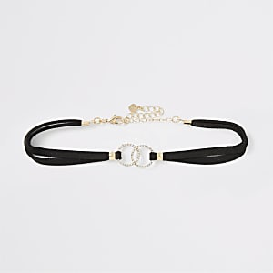 Black diamante pave suede choker