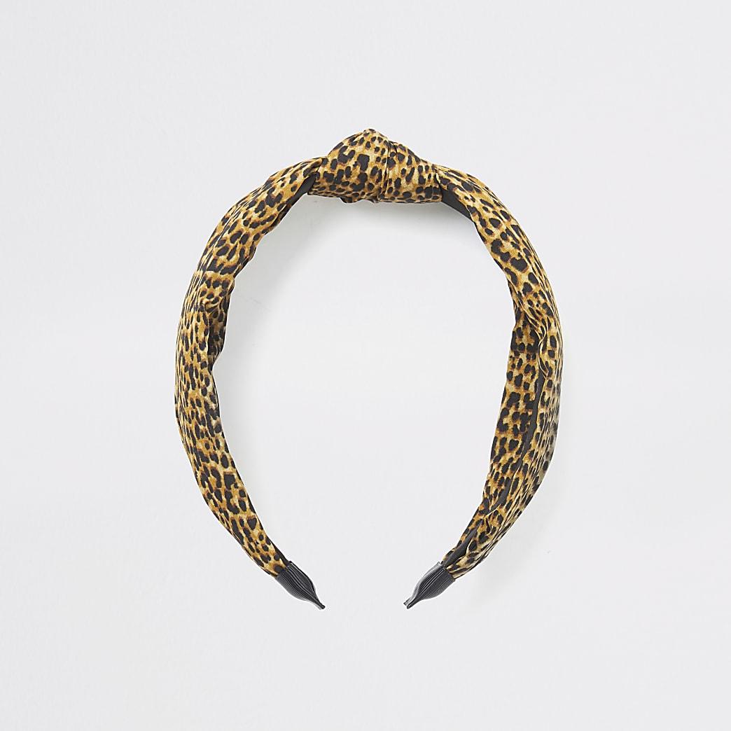 Brown leopard print knot headband