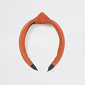 Orange plisse knot headband