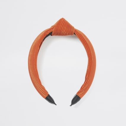 Orange plisse knot headband