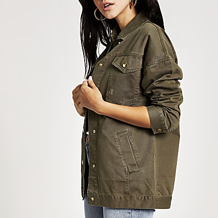 Khaki long sleeve twill army jacket