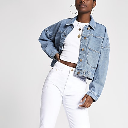 Light blue denim cropped jacket