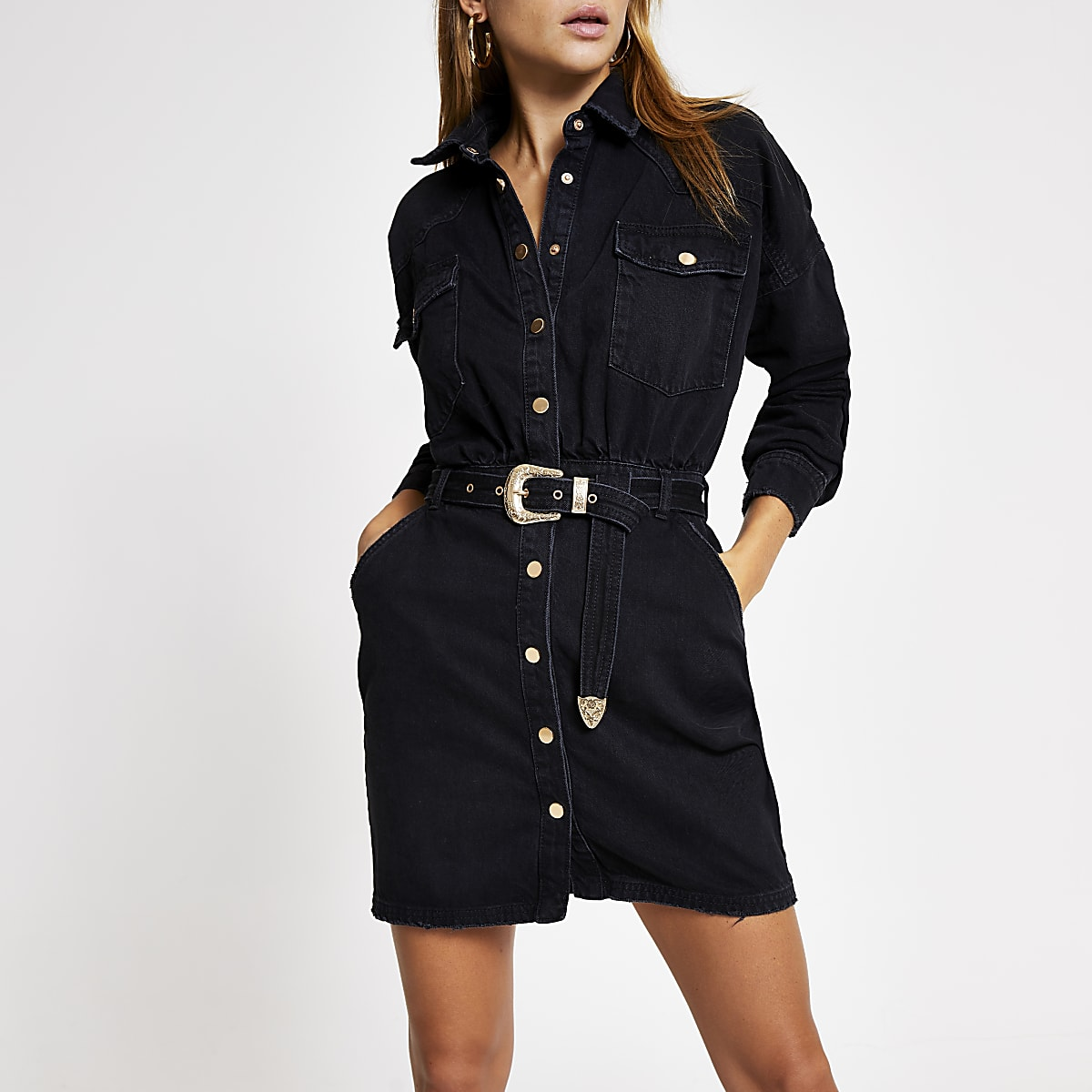 Black belted denim shirt dress