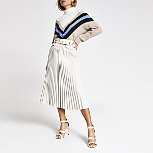 Cream pleated faux leather midi skirt