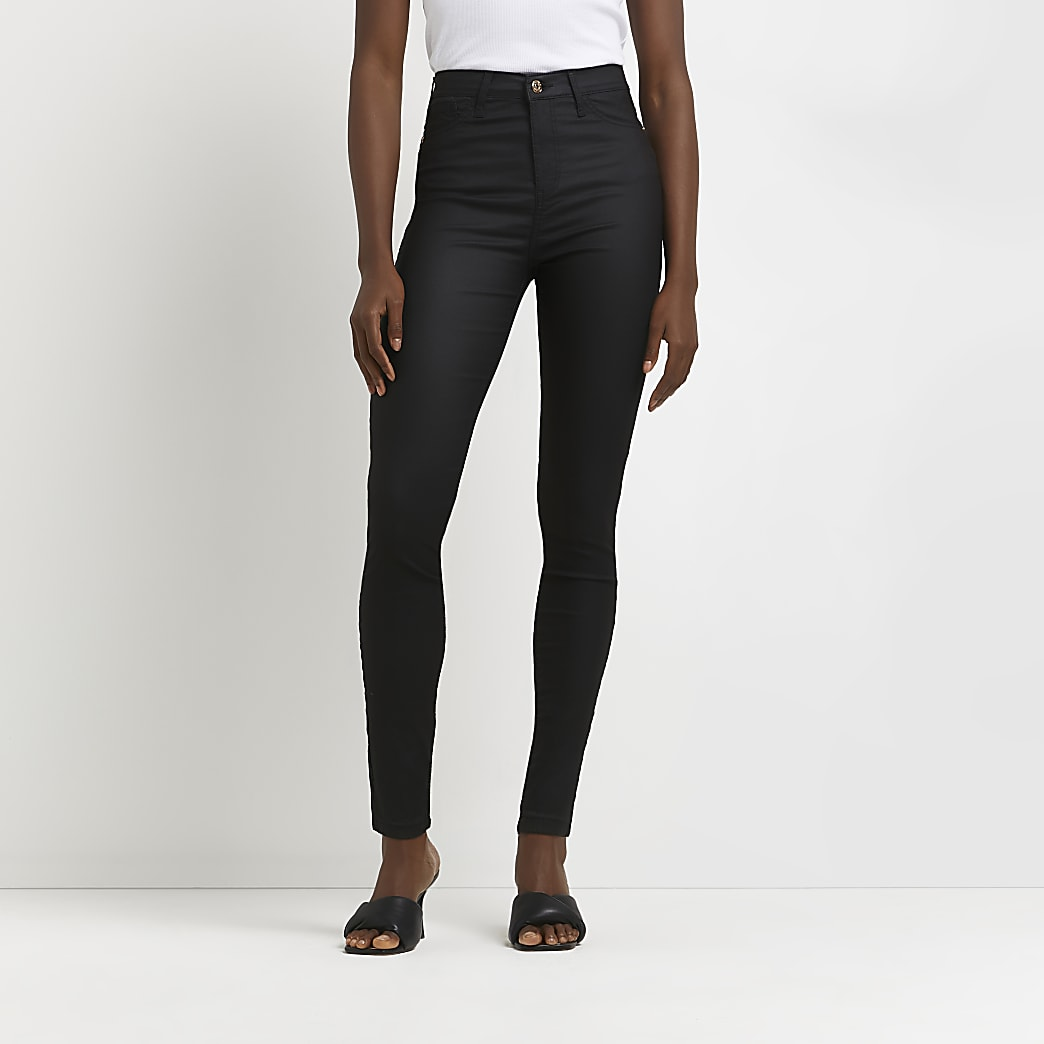 Hailey – Jean skinny noir enduit taille haute