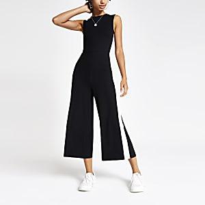 Zwarte geribbelde jersey jumpsuit