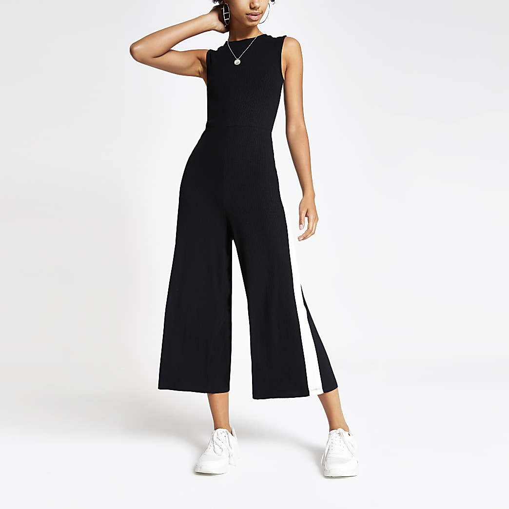 Black mono ribbed jersey jumpsuit
