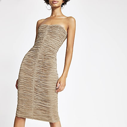 Beige ruched bardot bodycon dress