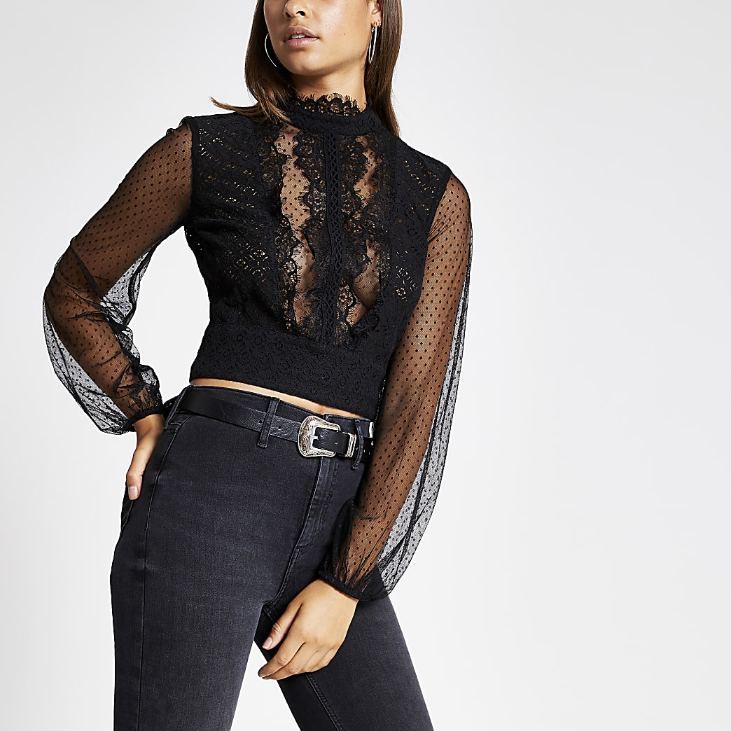 Black long sheer sleeve lace crop top