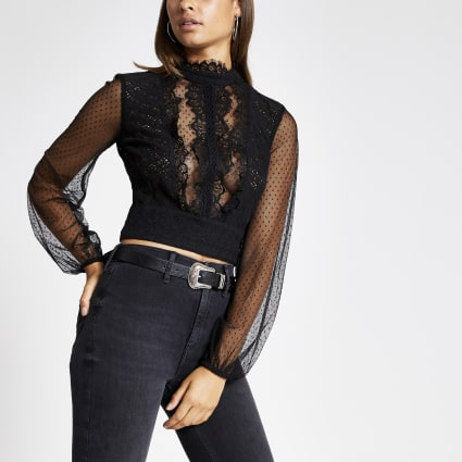Black long sheer sleeve lace crop top