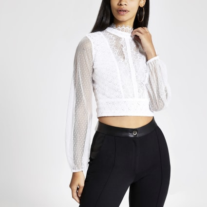 Cream long sheer sleeve lace crop top