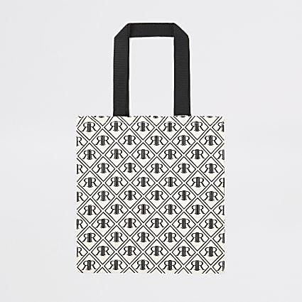 Black RI monogram print bag for life
