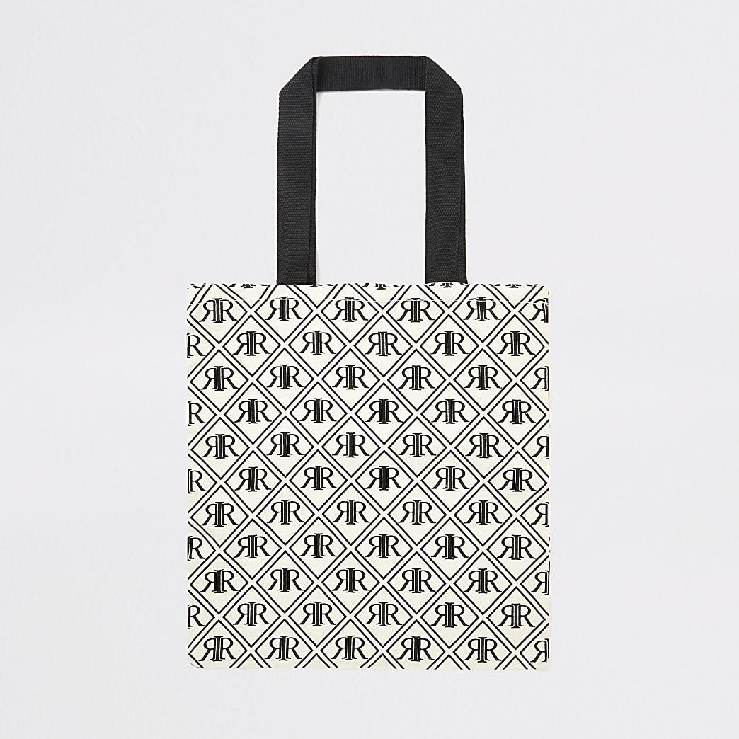 Zwarte duurzame tas met RI-monogram print