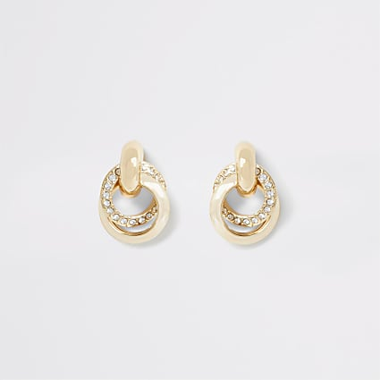 Gold colour diamante hoop twist stud earrings