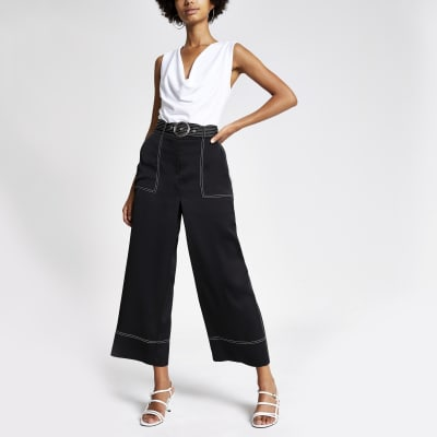 Black Contrast Stiched Crop Wide Leg Trousers by River Island