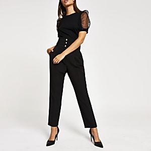 Zwarte korset broek met hoge taille