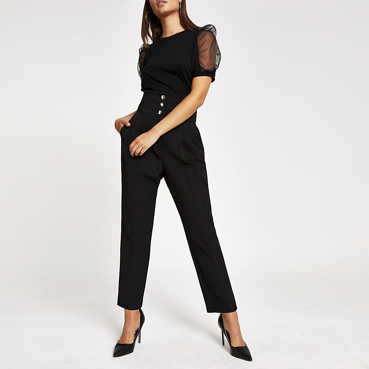 Pantalons noirs taille haute corsetée