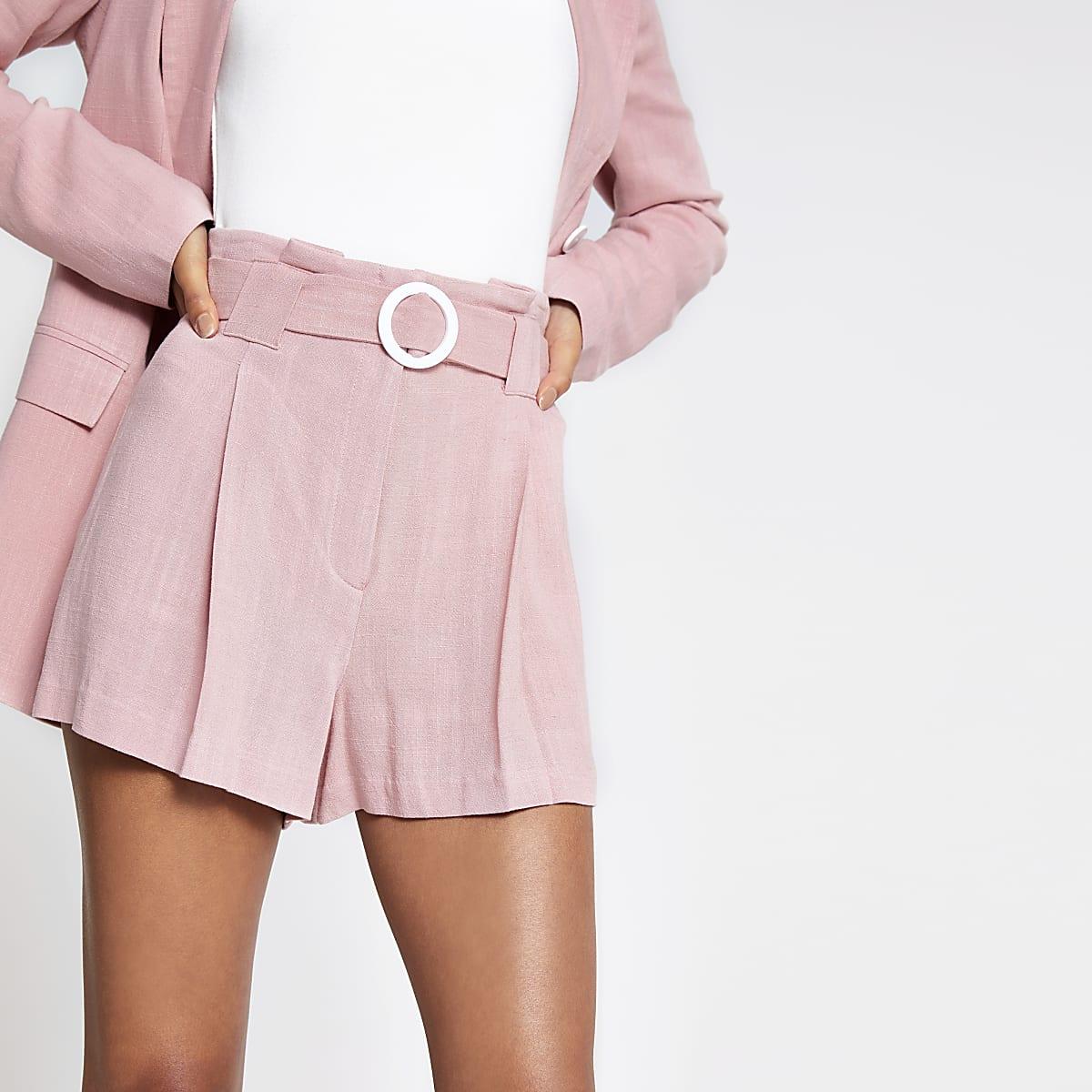 Pink belted linen shorts