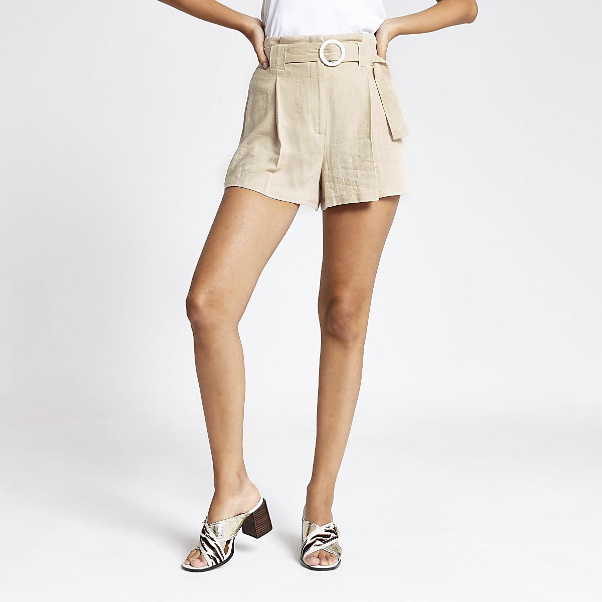 Cream belted linen shorts