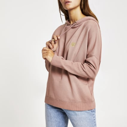 Petite pink RI embroidered batwing hoodie