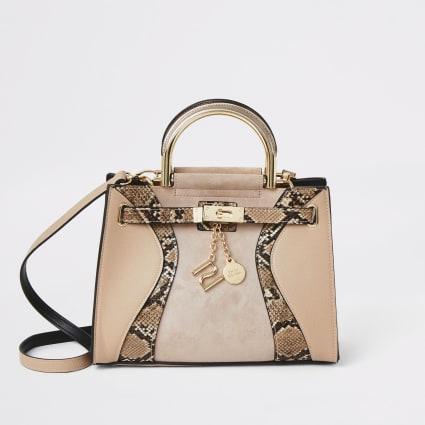 Pink snake print padlock tote bag