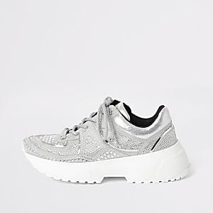 Zilverkleurige stevige sneakers met vetersluiting en siersteentjes