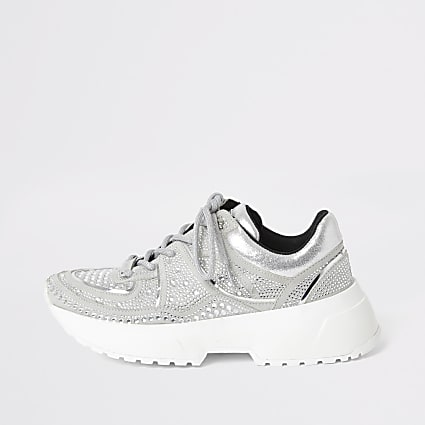 Silver diamante lace-up chunky trainers