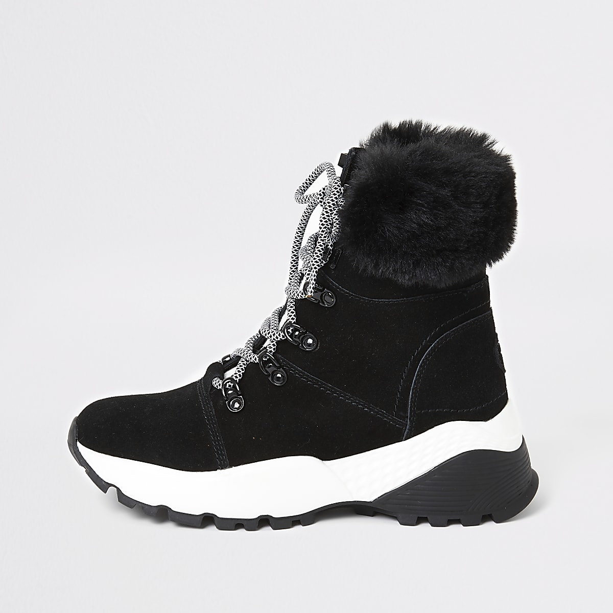 Black suede trainer boots