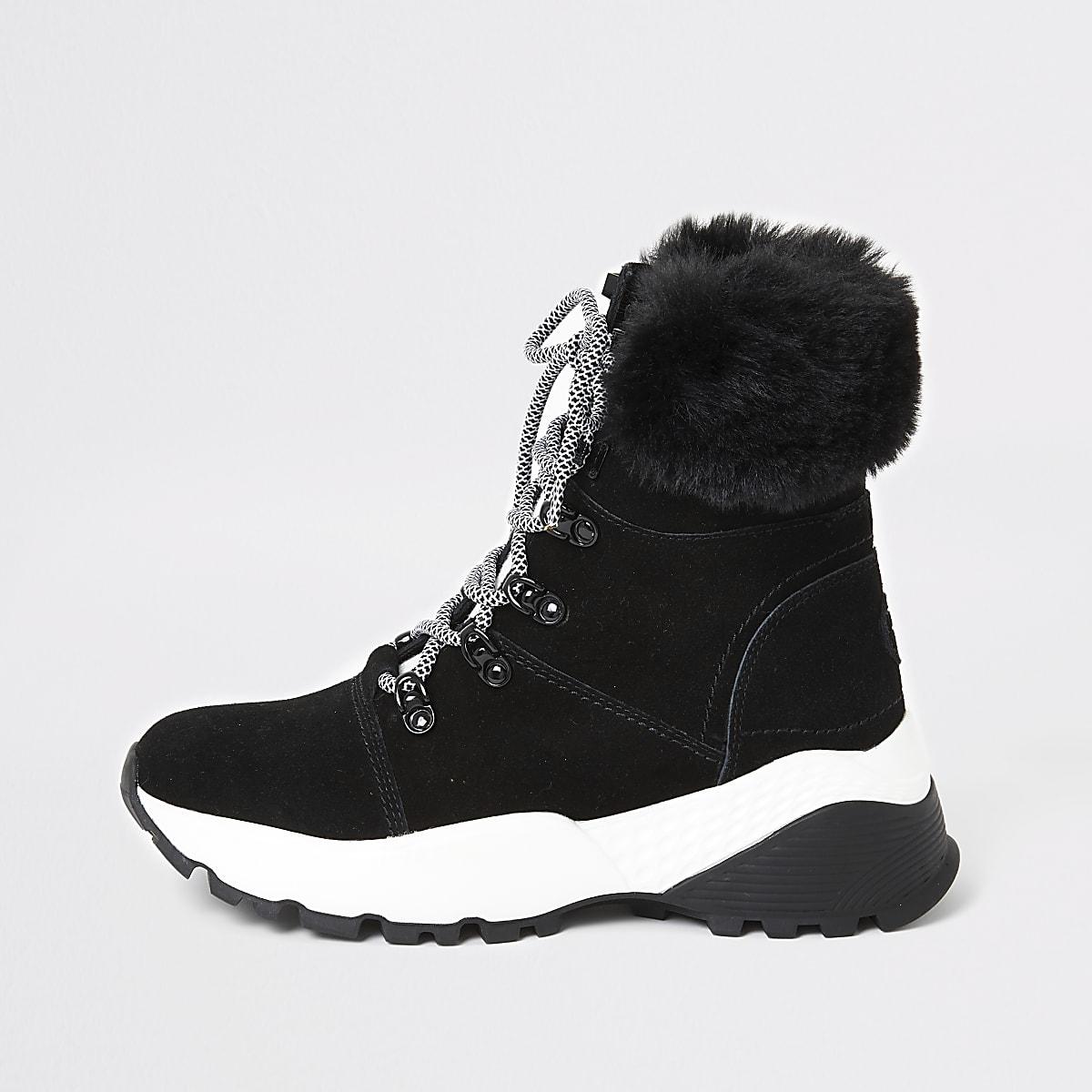Zwarte suède hoge sneakers