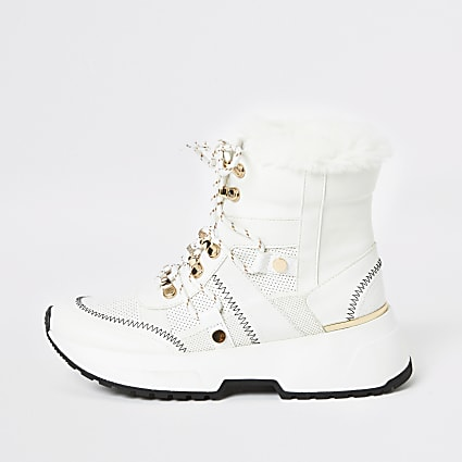 White lace-up trainer boots
